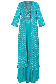 Aqua Blue Embroidered Cape with Printed Crop Top and Sharara Pants