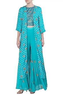 Aqua Blue Embroidered Cape with Printed Crop Top and Sharara Pants by Koashee By Shubhitaa