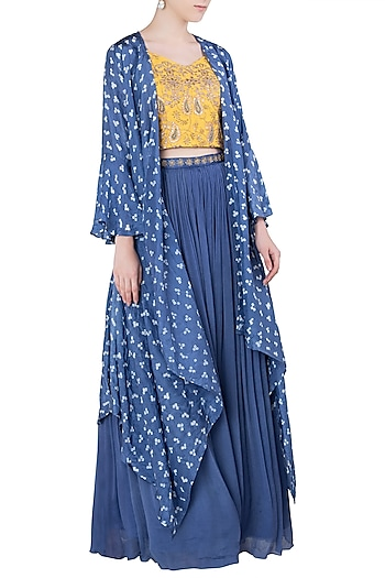 Blue Embroidered Cape with Lehenga Skirt and Yellow Crop Top by Koashee By Shubhitaa