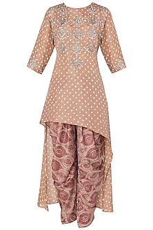 Caramel Brown Asymmetrical Embroidered Kurta with Printed Dhoti Pants