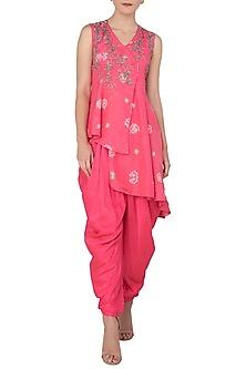 Pink Asymmetrical Embroidered Kurta with Dhoti Pants by Koashee By Shubhitaa