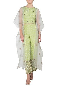 Grey Embroidered Cape with Lime Green Crop Top and Pants by Koashee By Shubhitaa