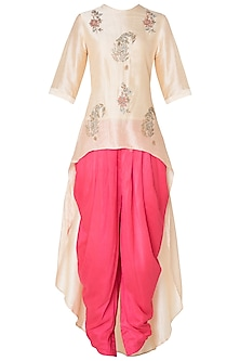 Off White Asymmetrical Embroidered Kurta with Pink Dhoti Pants by Koashee By Shubhitaa