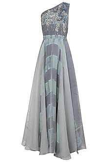 Grey and Blue Embroidered One Shoulder Leheriya Gown