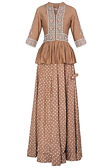 Caramel Brown Embroidered Peplum Top with Bandhani Lehenga Skirt