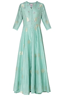 Pastel Green Embroidered Front Open Kurta with Pants by Koashee By Shubhitaa