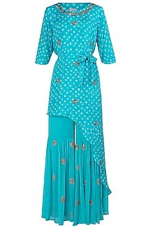 Aqua Blue Asymmetrical Embroidered Kurta with Sharara Pants
