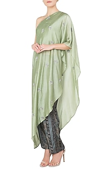 Green Asymmetrical Embroidered Top with Printed Pants by Koashee By Shubhitaa