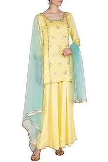 Lemon Yellow Hand Embroidered Sharara Set by Kudi Pataka Designs