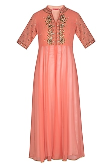 Peach Hand Embroidered Kalidar Tunic by Kudi Pataka Designs