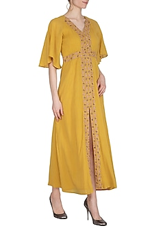Mustard Yellow Hand Embroidered Maxi Dress by Kudi Pataka Designs