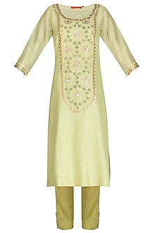 Yellow Green Hand Embroidered Kurta Set by Kudi Pataka Designs