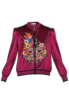 Maroon crop bomber jacket