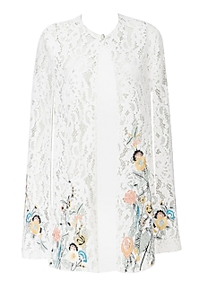 White Floral Embroidered Lace Cape by Kukoon
