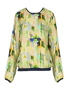 Lime Green Digital Camouflage Printed Bomber Top