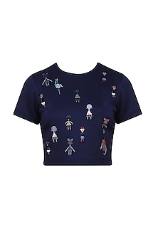 Blue Beads and Crystal Embellished Motifs Top