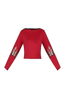 Red Embellished Sweatshirt by Kukoon