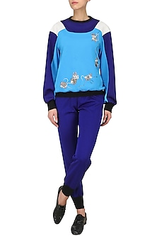 Blue Double Shade Sweatshirt by Kukoon