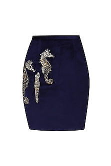 Navy Blue Sea Horse Embellished Skirt by Kukoon