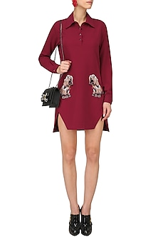 Maroon Embellished Shirt Dress by Kukoon