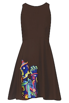 Chocolate Brown Robot Motif Skater Dress by Kukoon