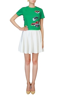 Turtle Green And White Hand Painted Crop Top by Kukoon