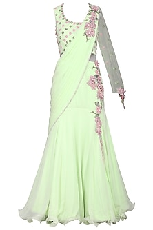 Green Embroidered Saree Gown