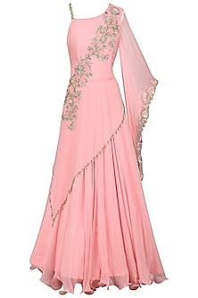 Pink Embroidered Draped Gown