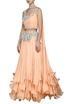 Peach Layered Lehenga Set by Kushal's