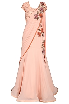 Peach Embroidered Saree Gown by Kushal's