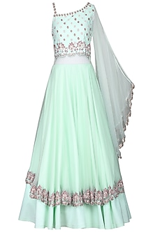 Aqua Hand Embroidered Gown