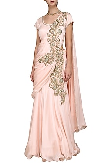 Peach Embroidered Draped Lehenga Set by Kushal's