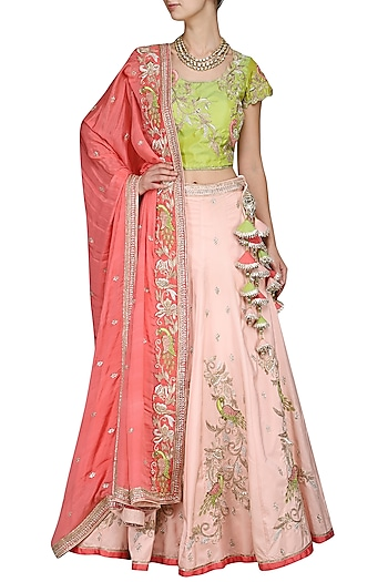 Peach and Green Embroidered Lehenga Set by Kushal's