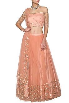 Blush Peach Embroidered Lehenga Set by Kudi Pataka Designs
