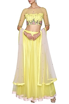 Yellow Embroidered Lehenga Set by Kudi Pataka Designs