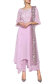 Lilac Kalidar Embroidered Kurta Set by Kudi Pataka Designs