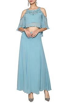 Blue Grey Embroidered Crop Top with Maxi Skirt by Kudi Pataka Designs