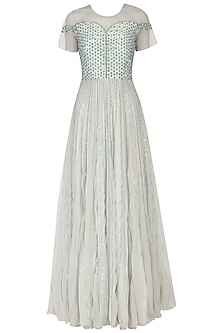 Light greenish grey embroidered layered gown