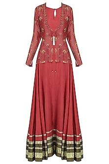 Earthy rust lehenga with embroidered jacket set by Kudi Pataka Designs