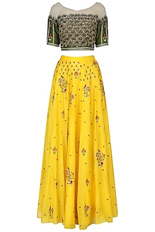Yellow and olive green embroidered lehenga set
