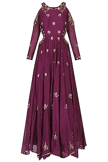 Wine embroidered cold shoulder gown