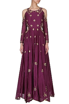 Wine embroidered cold shoulder gown by Kudi Pataka Designs