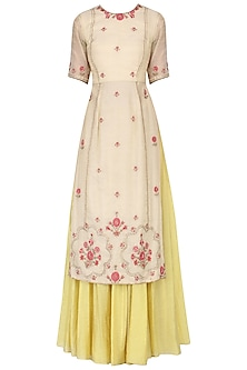Ivory embroidered kurta with olive gold skirt