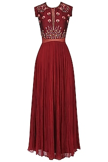 Maroon embroidered pleated gown