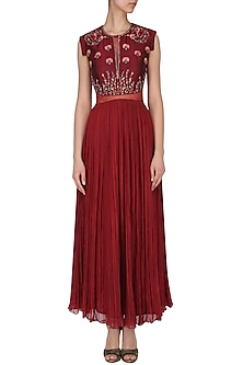 Maroon embroidered pleated gown by Kudi Pataka Designs