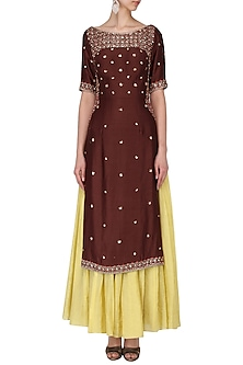 Oxblood embroidered kurta with  by Kudi Pataka Designs