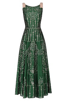 Dark green embroidered gown