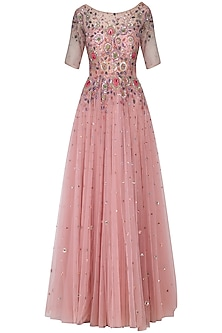 Dusty pink embroidered gown