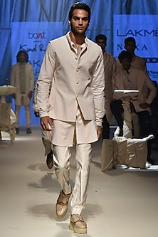 Vanilla Textured Koti Jacket With Kurta & Breeches by Kunal Rawal