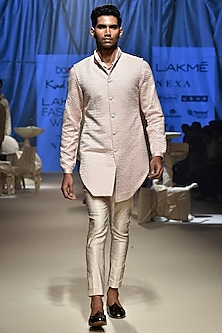 Pink & Vanilla Kurta Set With Koti Jacket by Kunal Rawal
